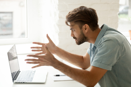 Furious man angry about bad news online or pc software failure, mad helpless office worker having problem with broken laptop, stressed student hates computer crash, user indignant about data loss