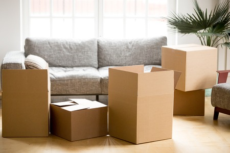 Cardboard carton boxes with personal belongings household stuff in modern living room, many packed containers on moving day in new home, relocation or house removals delivery service concept Stockfoto