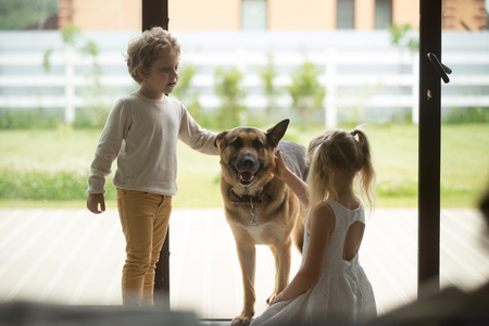 Children boy and girl playing with big dog coming inside house, kids siblings caressing german shepherd standing at door, sister and brother enjoying spending time with pet stroking domestic animal