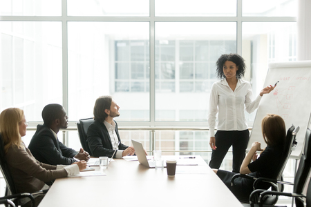 African american businesswoman giving presentation to executive team in meeting room