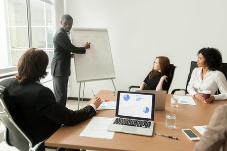 African american businessman giving presentation explains new marketing plan at meeting Stock Photo