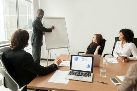 Homme d'affaires afro-américain donnant la présentation explique le nouveau plan marketing lors de la réunion