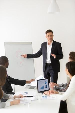 Lavoratore caucasico fiducioso che parla con i colleghi di lavoro durante la riunione del consiglio, fa la presentazione sulla lavagna a fogli mobili, visualizza i piani di marketing, guida i professionisti dell'azienda durante il corso di studio