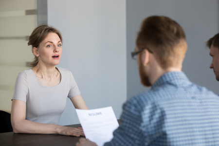 Stressed female applicant feels surprised at job interview, nervous vacancy candidate in panic confused by unexpected question shocked with result at hiring negotiation or stunned by bad impression Фото со стока - 109334287