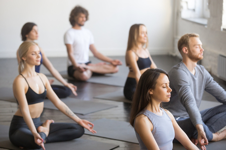 Group of young sporty people practicing yoga lesson, doing Padmasana exercise with closed eyes, Lotus pose, working out, students training in sport club, studio. Healthy, mindful lifestyle concepts