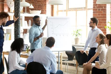 Zelfverzekerde glimlachende Afro-Amerikaanse bedrijfscoach die presentatie spreekt aan collega'sgroep tijdens briefing, bedrijfsvergadering, groei van de verkoopgrafiek uitlegt, rapporteert over goed resultaat, werknemers motiveert Stockfoto