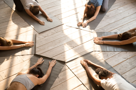 Top above view yoga position Child Pose performed by six diverse young slim yogi females get settled in circle wearing sportswear indoor in the morning. Group training healthy active lifestyle concept Imagens