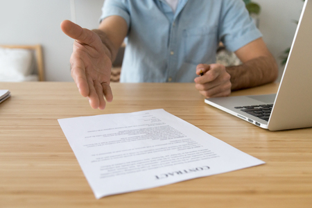 Salesman solicitor employer offering to sign this paper business contract concept, businessman promising good services job financial deal convince to put signature on legal document, close up view