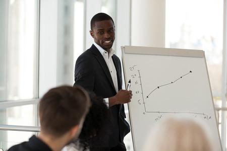 Arbeiter, die in einem modernen Konferenzraum im Büro sitzen, hören schwarzen Teamleiter zu, konzentrieren sich auf afrikanische erfahrene Trainer, die den Mitarbeitern des Unternehmens beibringen, eine Präsentation über die Steigerung der Produktivität und des Umsatzes zu halten