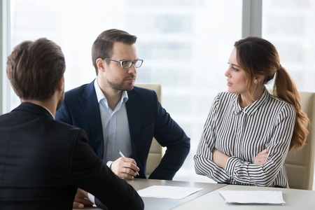 Concerned unconvinced hr managers talking feeling doubtful skeptic about applicant skills during job interview, recruiters employers uncertain about hiring candidate, bad first impression concept Stok Fotoğraf - 118204448