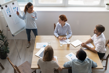 Female manager coach mentor giving flipchart business presentation at multi ethnic team workshop in boardroom, woman work leader teacher consulting employees clients at group office meeting, top view Standard-Bild - 120839417