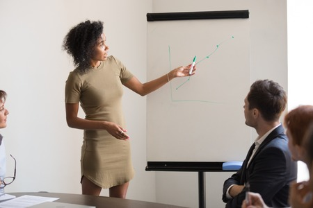 Focused millennial african American speaker or coach make flipchart presentation for employees, black female presenter hold educational training draw on whiteboard brainstorming with work group Banque d'images - 122368290