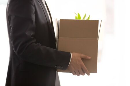 Crop close up of businessman stand holding cardboard box with personal belongings and plant, male newcomer employee in suit with carton package ready to settle in new office or workplace
