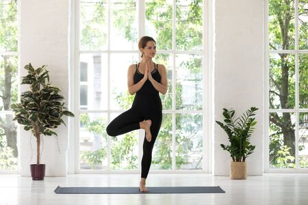 Beautiful young woman wearing black sportswear standing in Tree pose, doing Vrksasana exercise, practicing yoga, sporty girl working out at home or in yoga studio with big window and plants