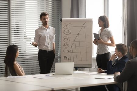 Asian businesswoman and Caucasian businessman making flip chart presentation, holding briefing with diverse employees, explaining strategy, marketing plan, staff training, business negotiations