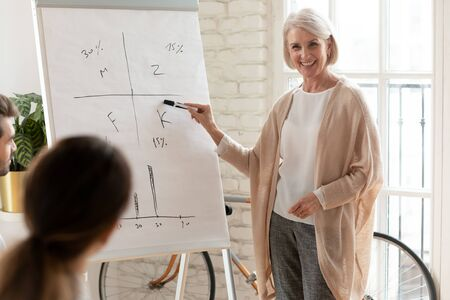 Smiling old mature female coach manager trainer pointing on whiteboard give business flip chart presentation, happy senior adult teacher mentor speaker presenter conduct conference workshop concept 写真素材 - 132280495