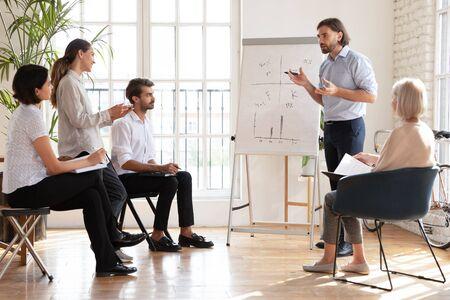 Un mentor d'entraîneur de PDG d'entreprise ciblé s'adresse à des membres du personnel multiethniques présentant une nouvelle stratégie d'entreprise, un formateur d'homme d'affaires confiant fait une présentation sur un tableau à feuilles mobiles lors d'une formation en entreprise