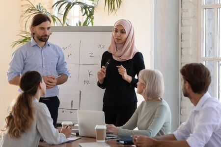 Two diverse ethnicity business coaches speakers asian muslim businesswoman wear hijab helping caucasian businessman speak work in teamwork give whiteboard presentation at conference training workshop