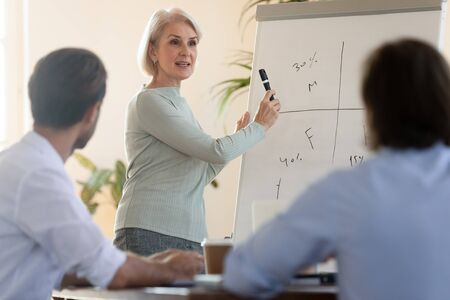 Confident mature older businesswoman business coach mentor manager give presentation training staff group pointing on flip chart, middle aged female trainer teaching employees at conference meeting Stock fotó