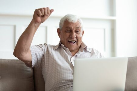 Head shot euphoric older man looking at laptop monitor, celebrating lottery win. Excited male retiree watching football match online, cheering favorite team. Happy grandfather received good news.
