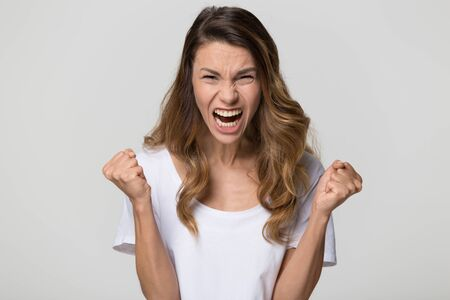 Angry mad hysterical woman screaming