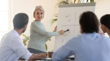Professional middle aged pleasant businesswoman explaining marketing strategy near flipchart to concentrated young teammates. Focused colleagues listening to business plan older presenter at office.