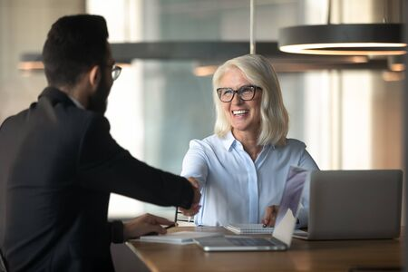 Smiling multiracial partners shake hands get acquainted greeting at business briefing in office, happy multiracial businesspeople handshake close deal make agreement at meeting, cooperation concept