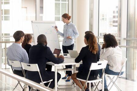 プレゼンテーションでフリップチャートを持つ若い女性従業員。会議室で多様なグループに相談する女性リーダー、上司メンターコーチが交渉でブリーフィングを行い、役員室で企業の同僚トレーニングを行う