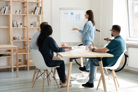 Young female employee make flip chart presentation for diverse colleagues at meeting in office, millennial woman presenter or coach lead briefing present strategy or plan on whiteboard for coworkers