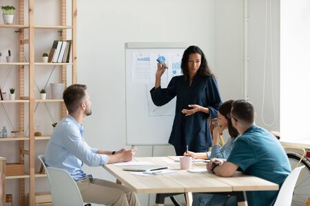 Focused African American woman presenter make whiteboard presentation for diverse colleagues at briefing, confident biracial female speaker or coach present project on flip chart at office meeting