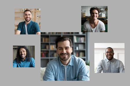 Over gray background collage pictures of five handsome 30s millennial multi-ethnic guys smiling looking at camera. Concept of e-dating single men search girlfriends, vloggers and represents channels Banco de Imagens