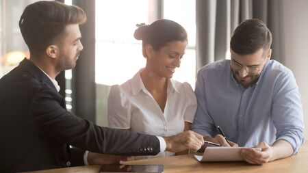 Entities after negotiations affirming lawful document, couple and bank representative reach agreement during meeting, man fill form signing loan contract family feel satisfied, property loan concept