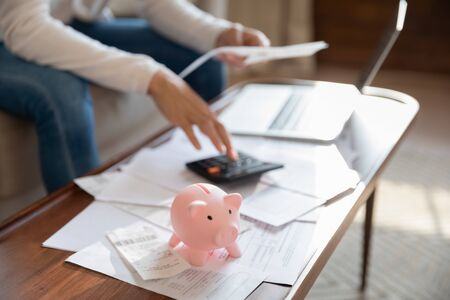 Close up of woman manage household finances feel economical provident saving money in piggy bank for future, female pay bills online, calculate home expenditures expenses, investment concept
