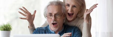 Horizontal photo 60s old couple happy husband overjoyed wife looking at laptop screen feel excited received fantastic news. Online lottery win, great commercial offer, banner for website header design