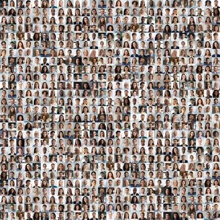 Lot of different multiracial people headshots portraits in square collage mosaic image. Many hundreds of diverse age and ethnicity people faces looking at camera collection. Social diversity concept.