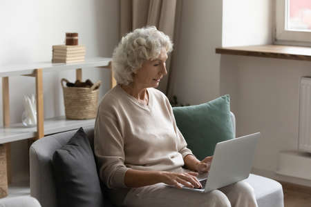 Grandmother 65s woman sit on couch put portable pc on laps using internet spend free time buying chatting communicate on-line. Easy and convenient services usage of elderly generation people concept Standard-Bild
