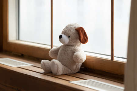 Close up of plush teddy bear on windowsill in pediatrics department in hospital. No people around. Fluffy children toy for kids to play with in private clinic. Pediatrician, healthcare concept.