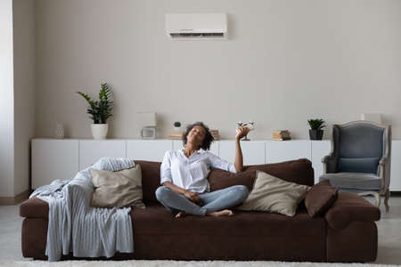Peaceful African American millennial woman using air conditioner remote controller, relaxing on couch at home, breathing fresh air, switching setting comfortable temperature in modern living room Banque d'images