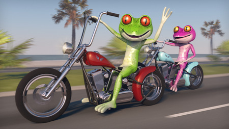 comical: Two Frogs Riding Motorcycles - Comical pink and green frogs speeding along the coast on a bobber style motorcycles.