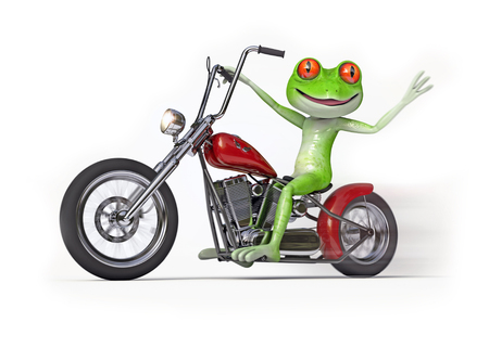 exhilaration: Frog on Motorcycle - Comical green frog speeding along on a bobber style motorcycle.