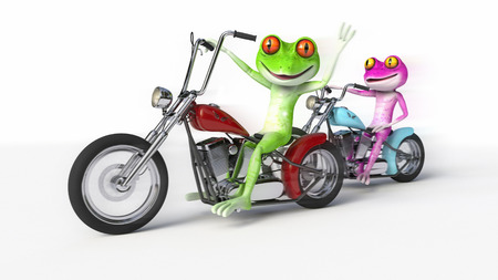 Two Frogs Riding Motorcycles - Comical pink and green frogs speeding along on a bobber style motorcycles. Stok Fotoğraf