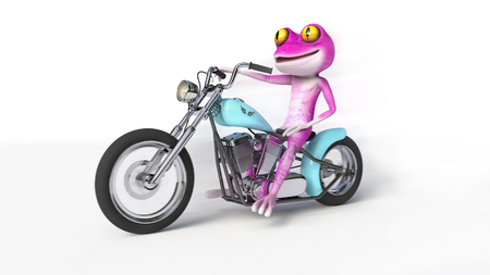 Pink Frog on Motorcycle - Comical pink frog speeding along on a bobber style motorcycle.
