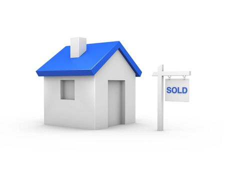 sold sign: 3D House Sold - 3D House with blue roof and sold sign.