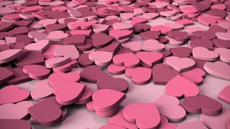 rubbery: Abstract Heart Background - Varying shades of soft, rubbery pink hearts lying in a pile.
