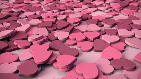 Estratto Heart Background - varie sfumature di morbido, cuori rosa gommose che giace in una pila.