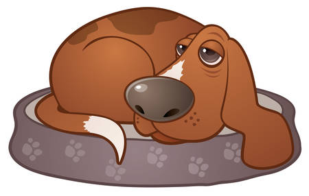 Vector cartoon illustration of a sleepy hound dog lying on a paw print dog bed. Illustration
