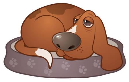 Vector cartoon illustration of a sleepy hound dog lying on a paw print dog bed. Vettoriali