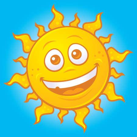 Vector cartoon drawing of a happy sun.