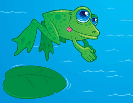 Vector drawing of a cute frog diving off of a lily pad into water. Drawn in a humorous cartoon style.