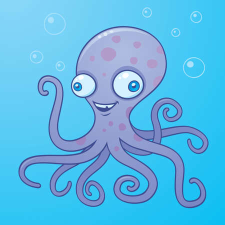 squids: Vector cartoon illustration of a happy octopus in the water with bubbles.